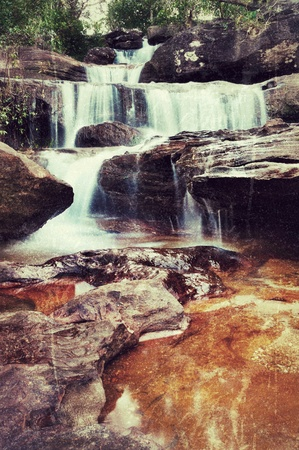 artwork in retro style waterfall in Thailand photo