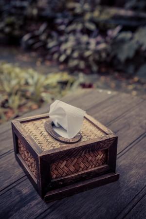 Bamboo tissue box in the cafe garden photo