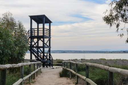 hunters tower: watchtower in the lagoon Stock Photo