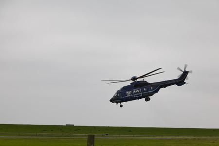 federal police: Mariensiel Airport, Mariensiel, Germany, June 09, 2016, German Federal Police Helicopter Aerospatiale AS332 Super Puma is leaving the Airport Editorial