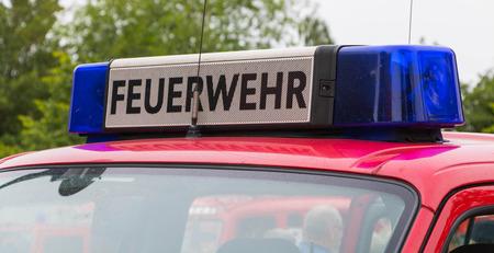 antique fire truck: blue light bar and horn on a German firetruck