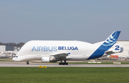 Hamburg, Germany - April 17, 2018: Beluga Airbus A300-600ST # 2 Landing at the Airbus Plant in Hamburg Finkenwerder