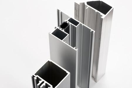 aluminium background: Aluminum profiles Stock Photo