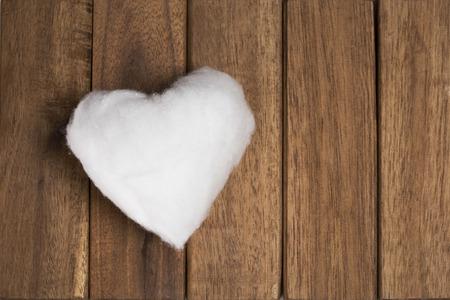 cotton wool: Love heart on wood battens texture, cotton wool