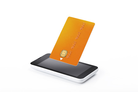 Smart phone with credit card above, electronic wallet, mobile pay