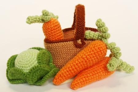 stitchcraft: Basket with Vegetables: cabbage and carrots Stock Photo