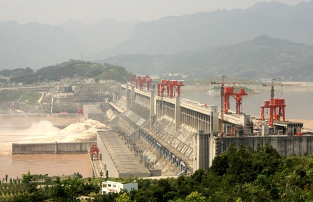 hubei province: Three Gorges Dam on Yangtze river in China - August 1, 2010