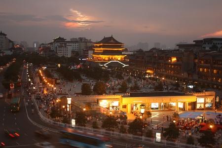 The night view of Xian Drum tower, Xian, Shaaxi Province, China - July 25, 2010
