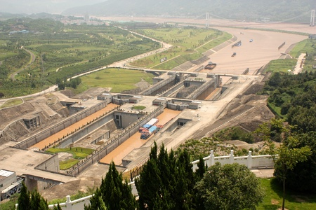 hubei province: Sluices of Three Gorges Dam