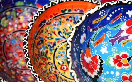 Traditional turkish pottery with flower pattern photo