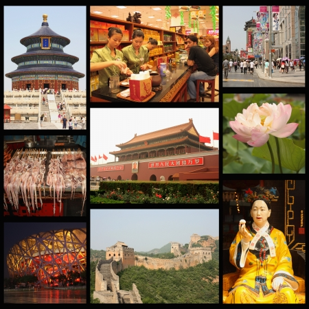 Beijing Collage - : Tea shop, Wangfujing street, Temple of Heaven, Forbidden city, Cisi emperor, Bird