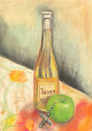 Hand painted bottle of wine photo