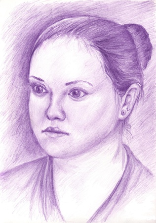 plump lips: Graphic drawing portrait of a woman