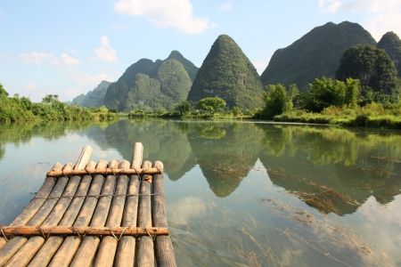 destination scenic: Bamboo rafting on Li-river, Yangshou, China