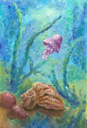 tranquillity: Abstract oil painting of the Bottom of the sea Stock Photo