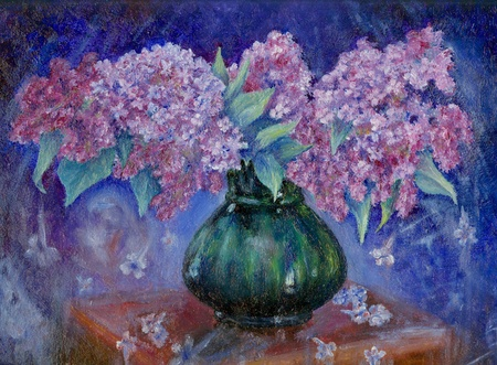 still life flowers: Original oil painting of bunch of lilac Stock Photo