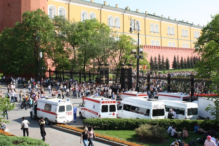 Public security ambulances during the celebration of the Victory Day near the Kremlin, Moscow, Russia - May 9, 2010