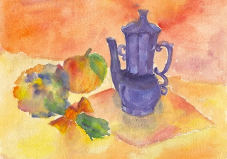 Child's painting of a still life Stock Photo - 9225591