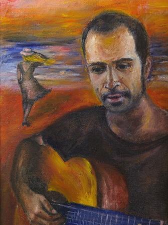 parting the sea: Love mood - Original oil painting of enamoured man