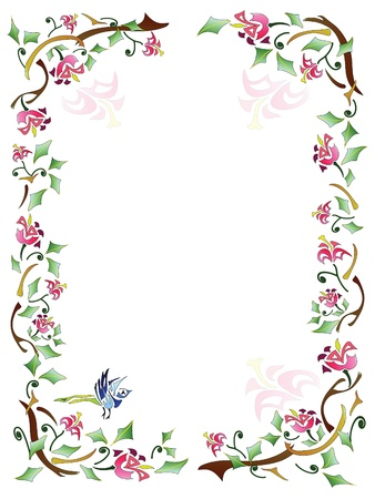 embroidery flower: Abstract  Floral Frame