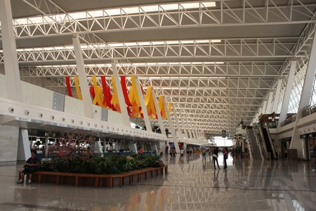 Departure zone and waiting space in airport of Wuhan, China - August 01st, 2010