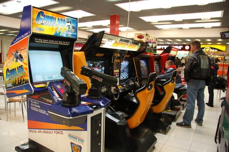 Row of Arcade machines in a mall, Moscow, Russia - April 10, 2011
