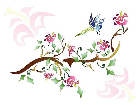 Bird and tree ornate Vector