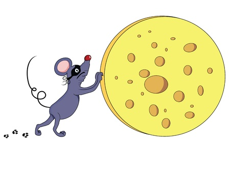 pilferer: Mouse thief stealing cheese