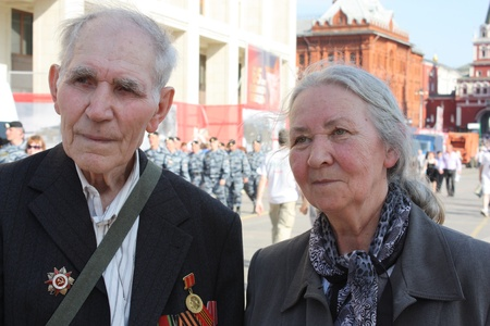 9th of May 2010 - Celebration of Victory Day in Moscow - Elderly Veterans of War in the centre of Moscow - May 09th, 2010