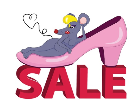 Sale logo with a funny mouse Stock Vector - 9407938