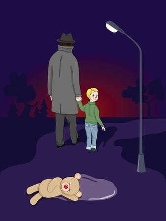 kidnapping: Little boy and a stranger in a dark street Illustration
