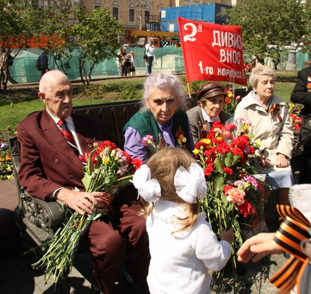 Celebration of Victory Day in Moscow - Little girl congratulates Veterans of 2WWar - 9th of May 2011