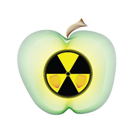emanation: Radioactive apple. Abstract vector illustration Illustration