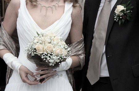 church flower: Sposa e lo sposo Archivio Fotografico