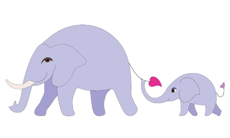 mum and daughter: Elephant family Illustration