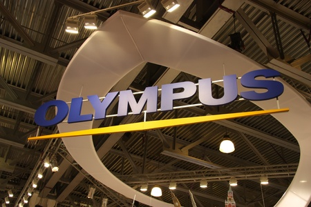 Olympus signboard at the stand on the exhibition Photoforum-expo 17.04.2011 in Moscow