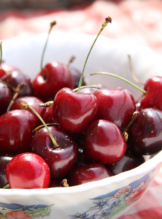 Red sweet cherry in a plate Stock Photo - 9853122