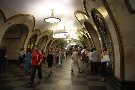 The interior of metro station Novoslobodskaya in Moscow, Russia - 21.06.2011