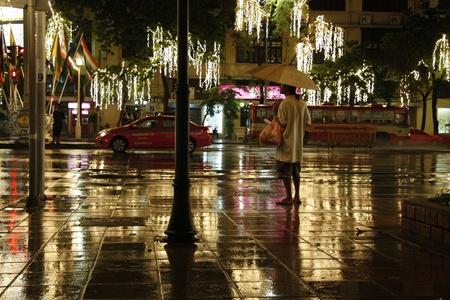 outcast: Night rainy Bangkok illumination, Thailand - 17.08.2011