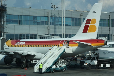 Iberia plane waiting for passengers in Domodedovo airport, Moscow, Russia, 20.07.2011