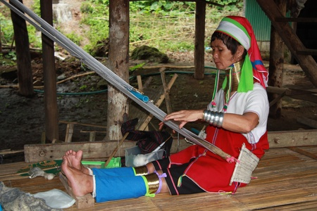 stitchwork: Kayan woman of the group of Karenni people, Northern Thailand, Chiang Mai - 29.07.2011