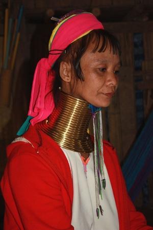 perversion: Kayan woman of the group of Karenni people, Northern Thailand, Chiang Mai - 01.08.2011