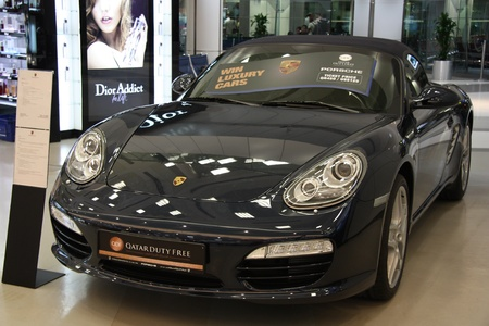 Porsche lottery prize in Duty free shop in Doha airport, Qatar 21.07.2011 Stock Photo - 10977207