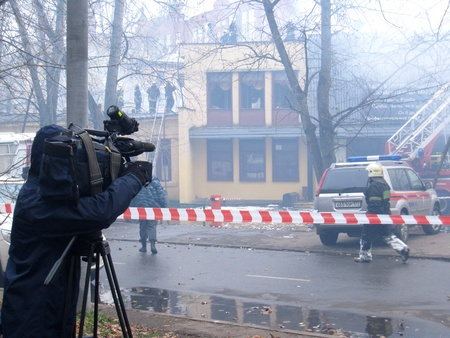 explosion engine: Making report about firefighting in a public club Octjabr, Moscow, Russia 29.10.2011 Editorial