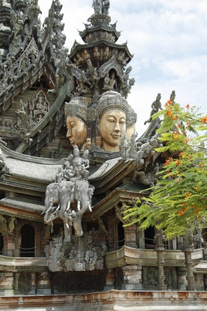 sanctuary: Wooden curved Temple Sanctuary of Truth - Landmark of Pattaya in Thailand