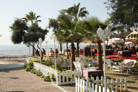 Open air cafe at the sea side, Antalya, Turkey - 28.11.2011