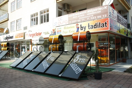 Sun batteries equipment store in Antalya, Turkey Stock Photo - 11565116