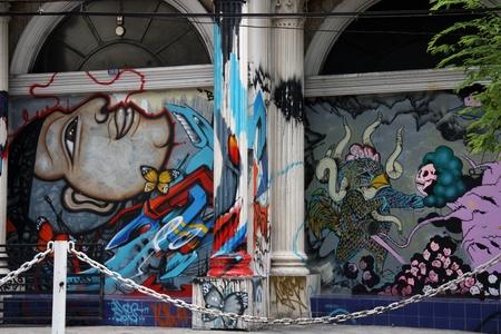 anarchism: Urban graffiti on the wall of old Thailand building, Bangkok - 5.08.2011