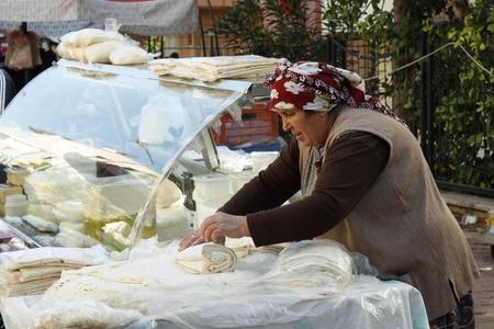 Traditional Turkish flat bread Gozleme at the market, Antalya, Turkey - 3.12.2011 Editorial