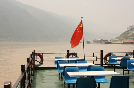 three gorges dam: Tourist cruise boat at the Yangtze river, China